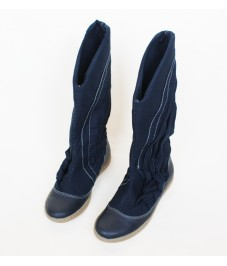 Grass shoes_4. Dark blue. Обувь-трава, темно-синие, с косой